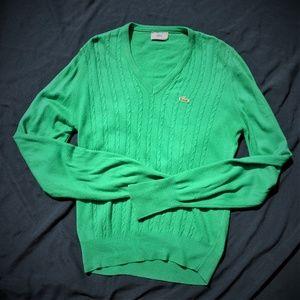 Vintage Izod Lacoste V-neck Cable Knit Sweater